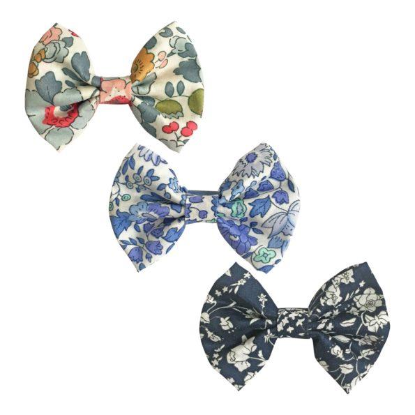Milledeux Gift set – 3 Liberty bowtie bows – alligator clip – Blues