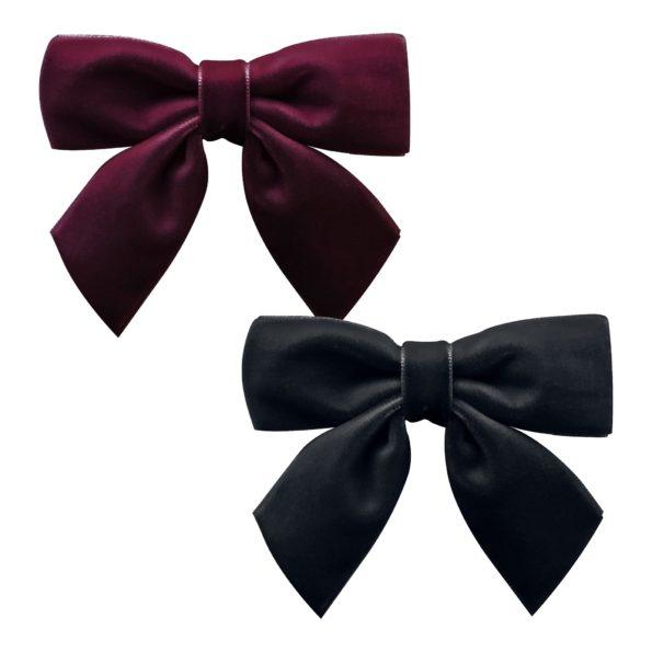 Milledeux Gift Set – medium bowtie with tails – alligator clip – burgundy/black