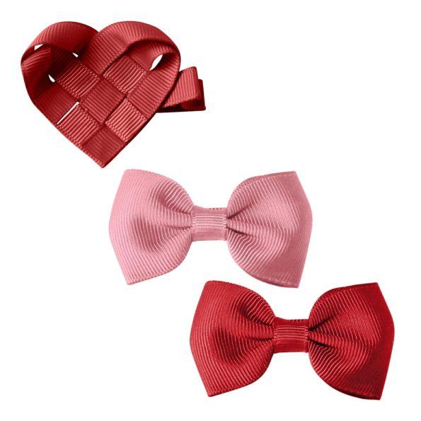 Gift set – Valentines – alligator clip – wild rose/scarlet