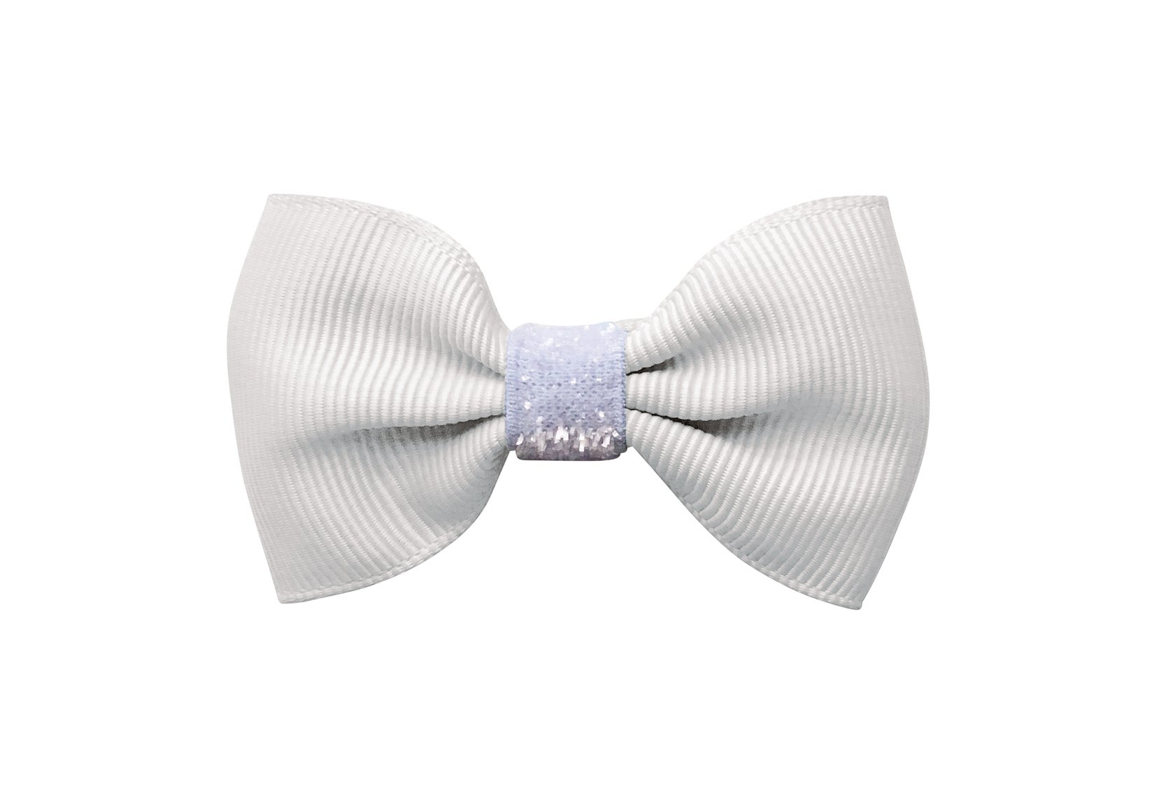 White Small Bowtie Bow with Colored Glitter Middle – Alligator Clip