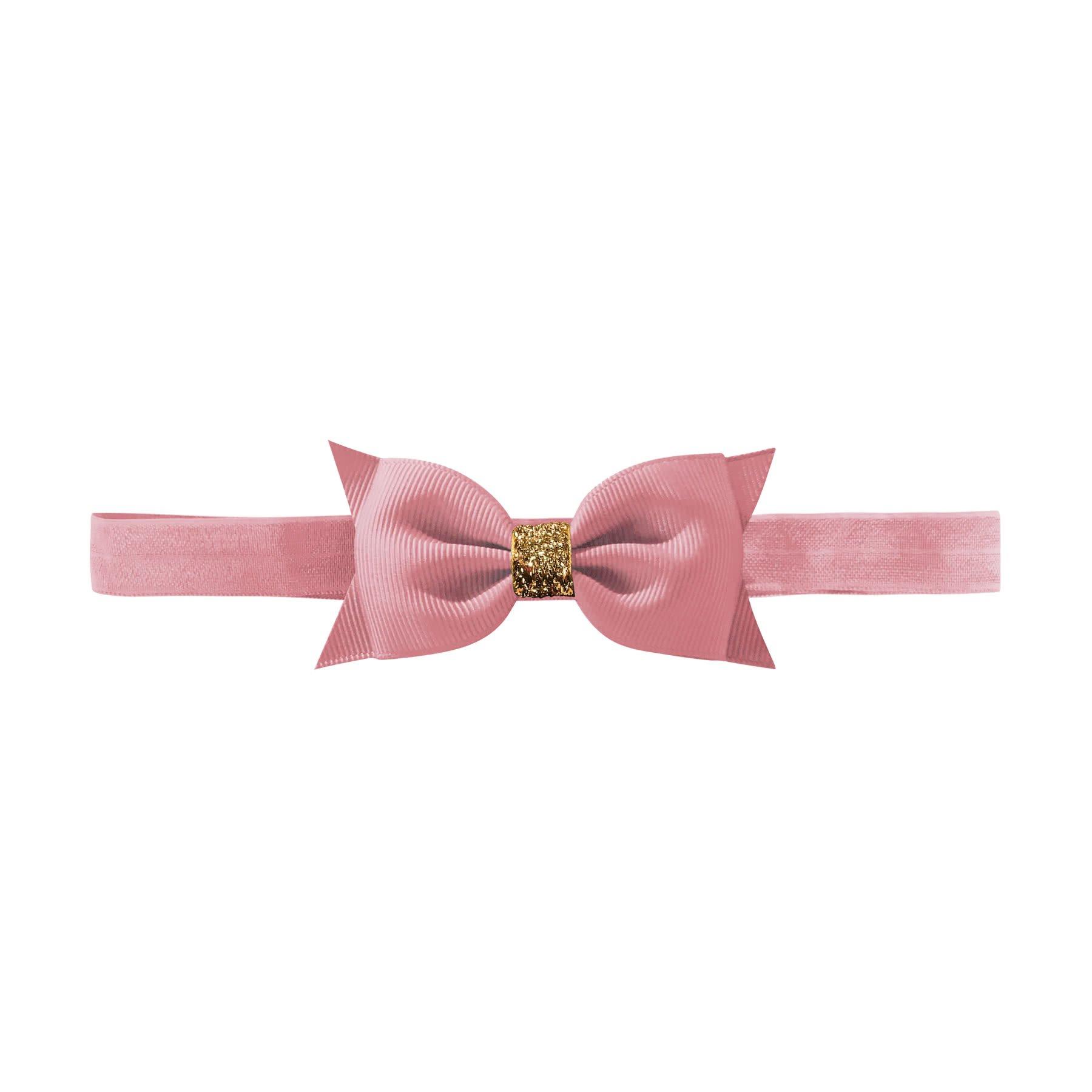 Milledeux Double Bowtie Bow Elastic Hairband Wild Rose Gold Glitter Milledeux