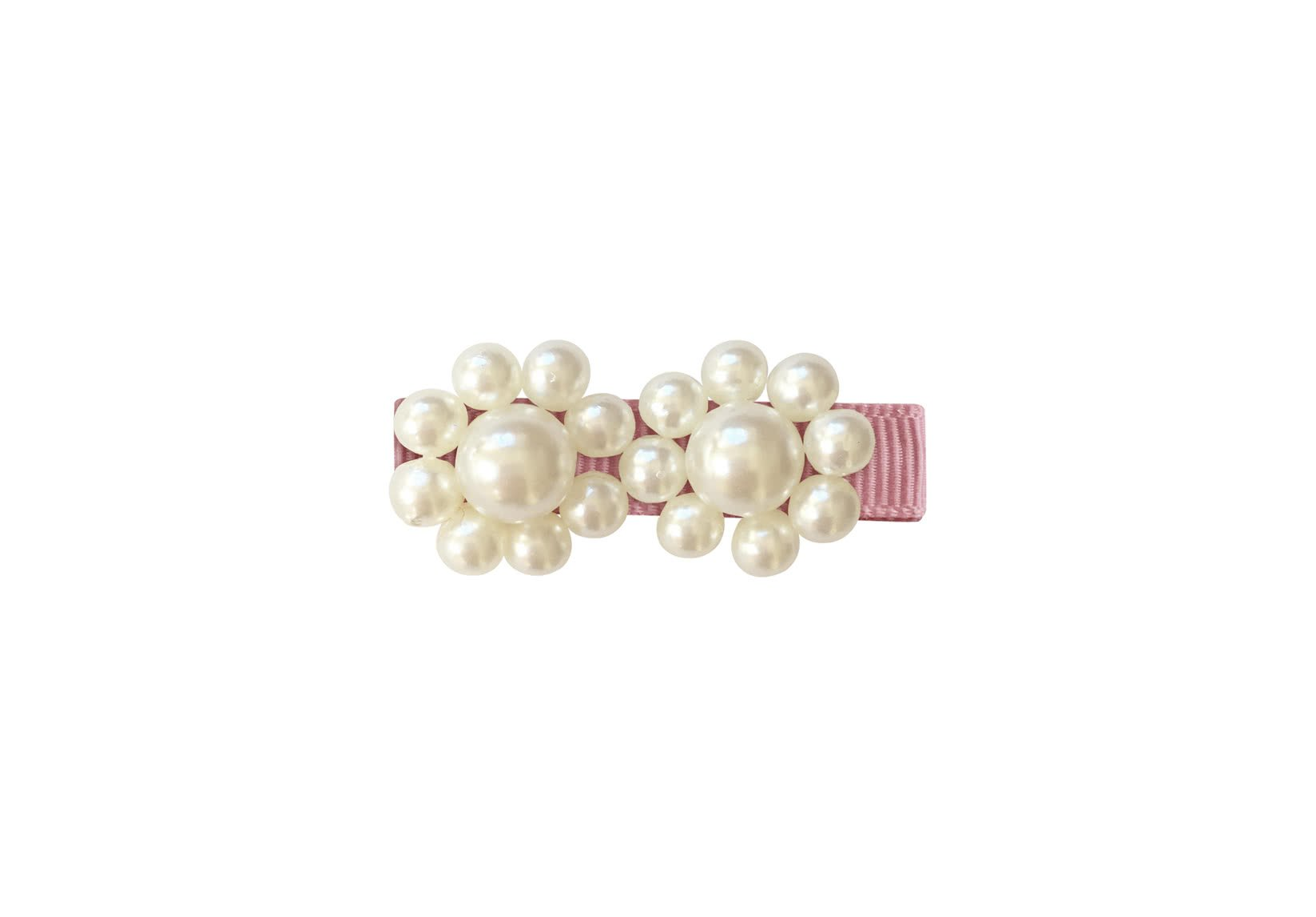Two Pearl Flowers – Grosgrain Alligator Clip – Pearl Grosgrain Collection