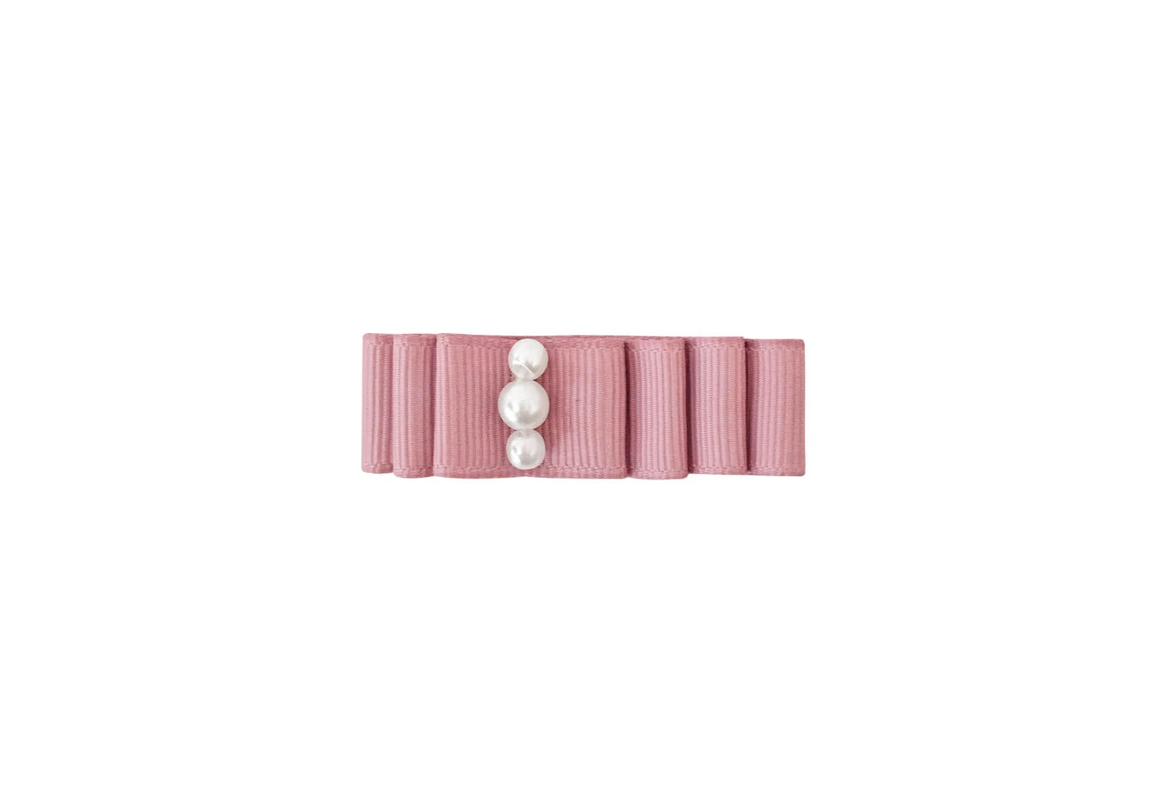 Small Layered Bow with Pearls – Alligator Clip