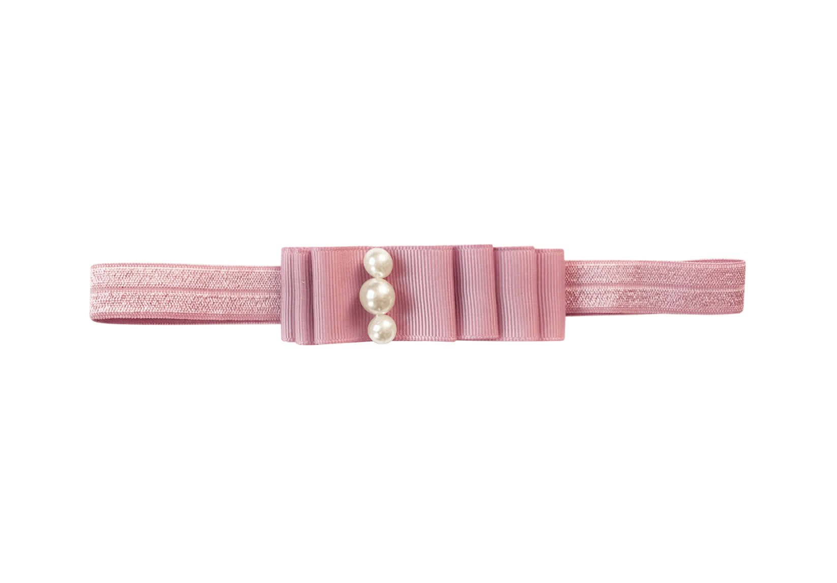 Medium Layered Bow with Pearls – Elastic Hairband