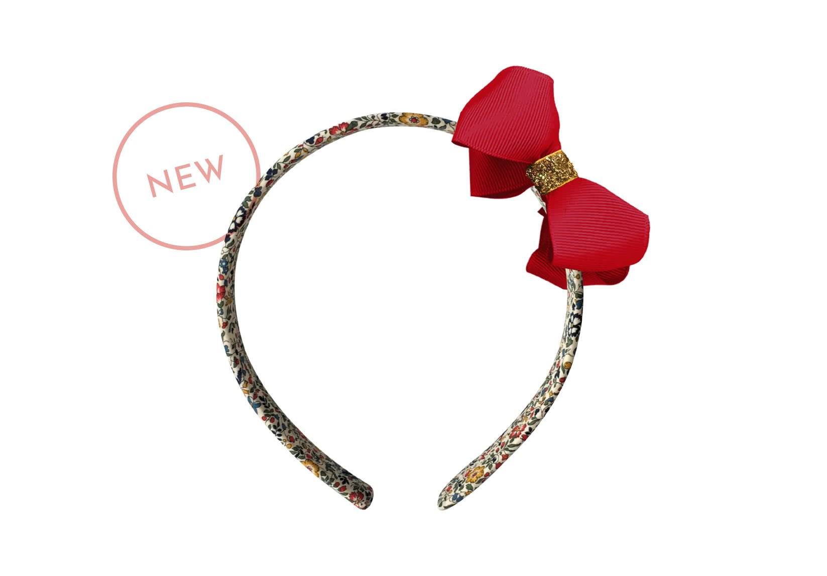 Liberty Hairband – Medium Grosgrain Boutique Bow with Gold Middle