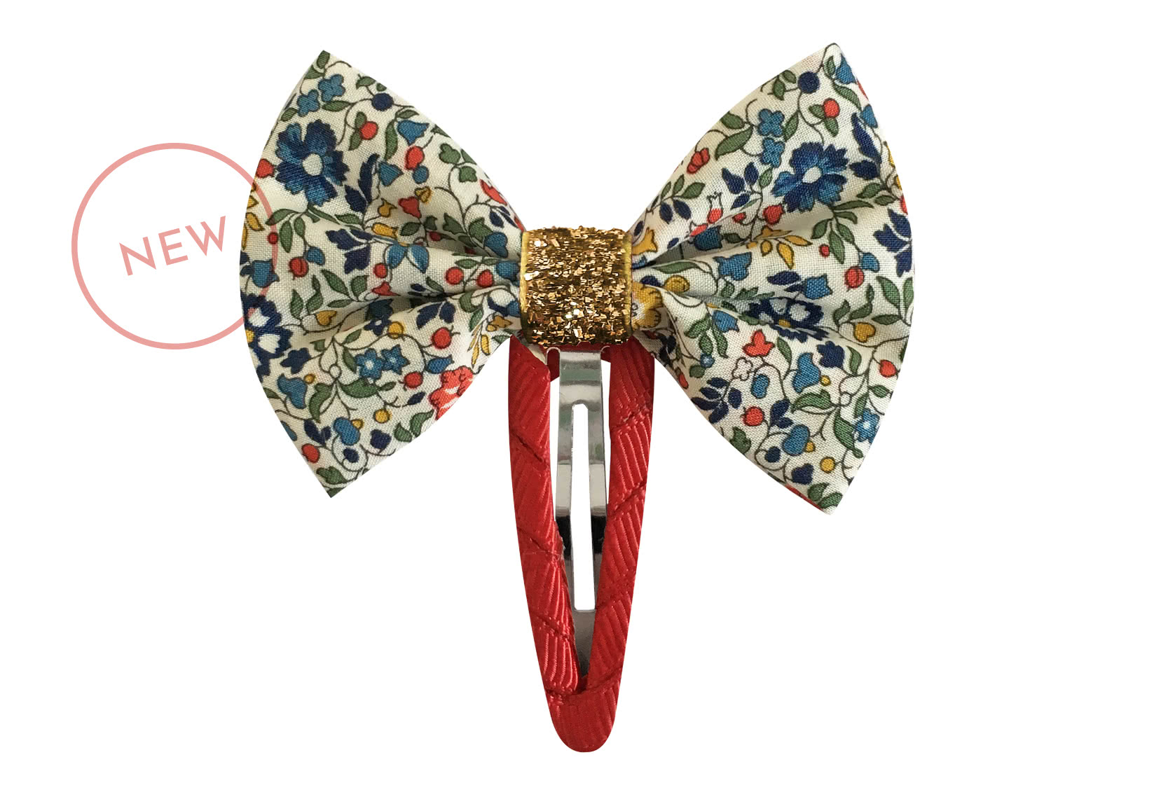 Small Liberty Bowtie Bow with Gold Middle – Snap Clip