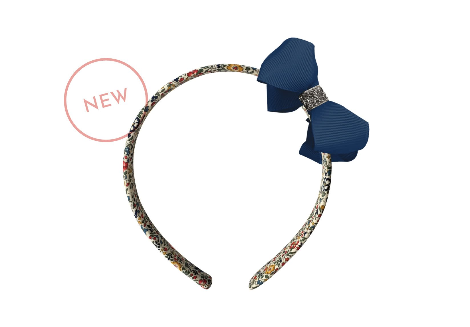 Liberty Hairband – Medium Grosgrain Boutique Bow with Silver Middle