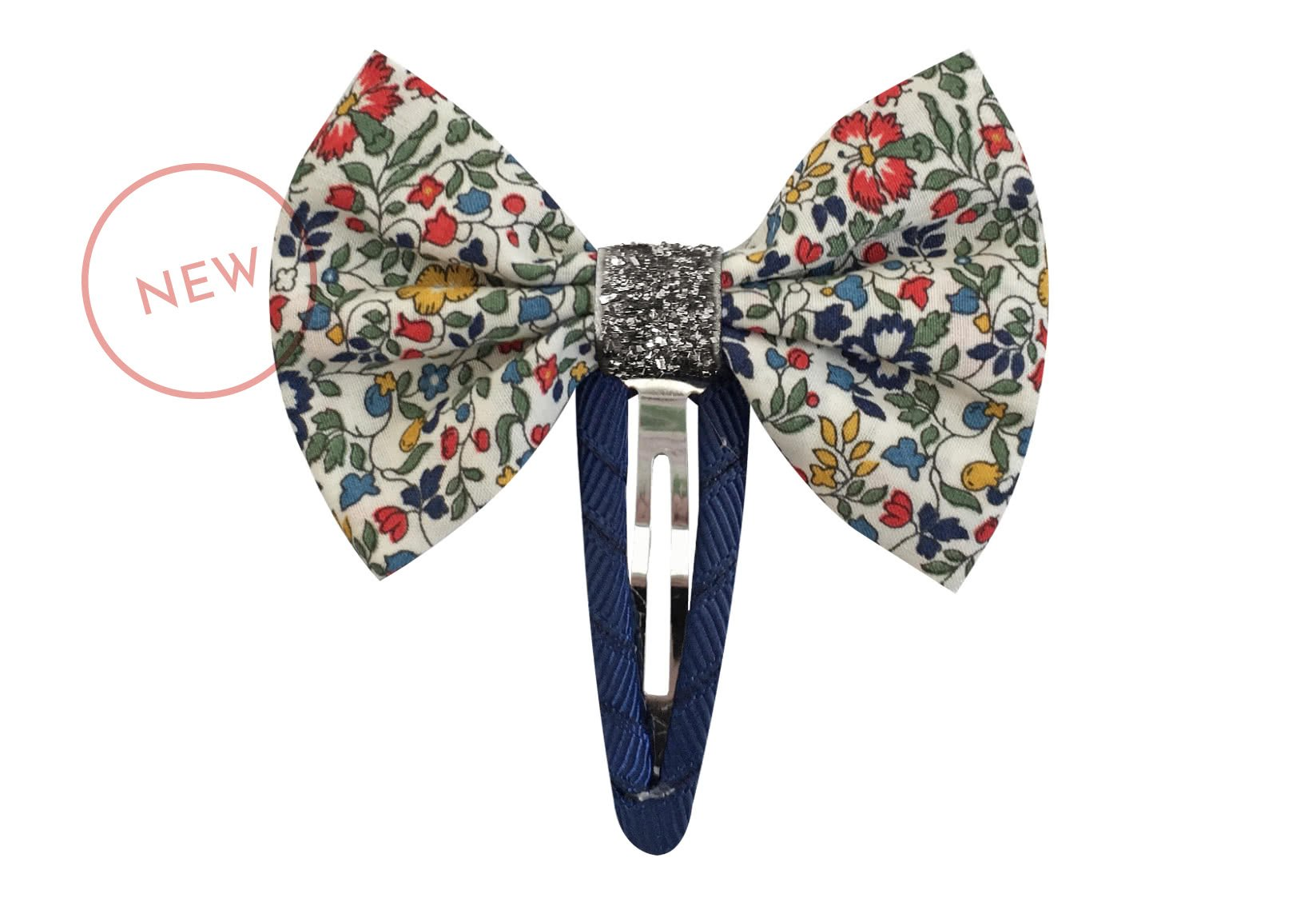 Small Liberty Bowtie Bow with Silver Middle – Snap Clip