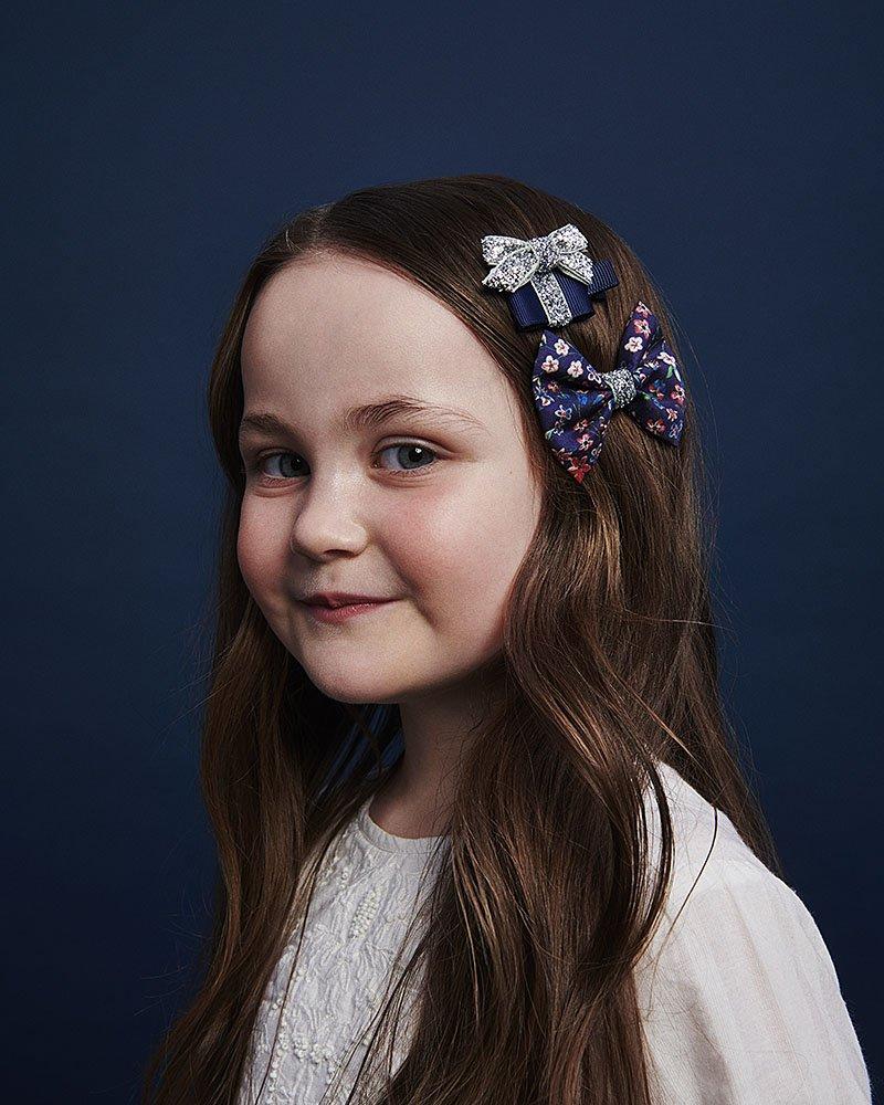 blue silver hair bows