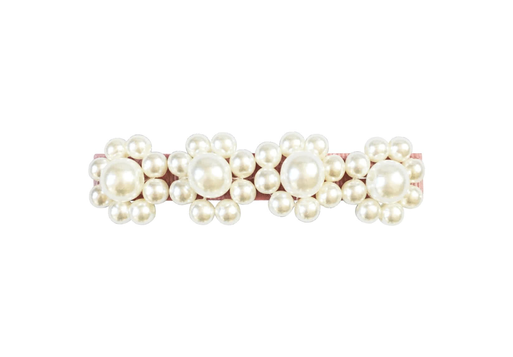 Four Pearl Flowers – French Clip – Pearl Grosgrain Collection